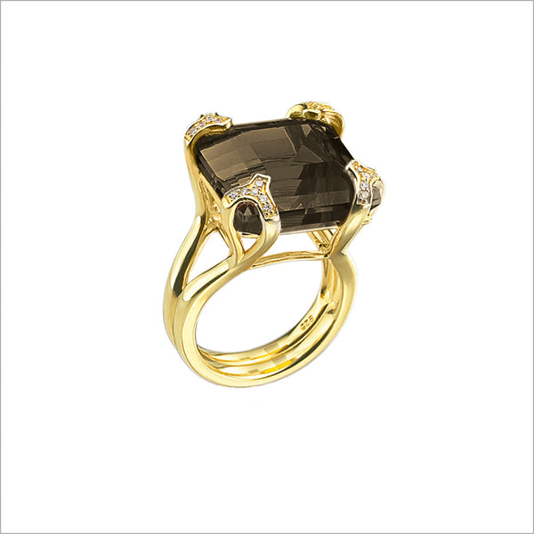 Soirée Smoky Quartz & Diamond Ring in Sterling Silver plated with 18k Yellow Gold