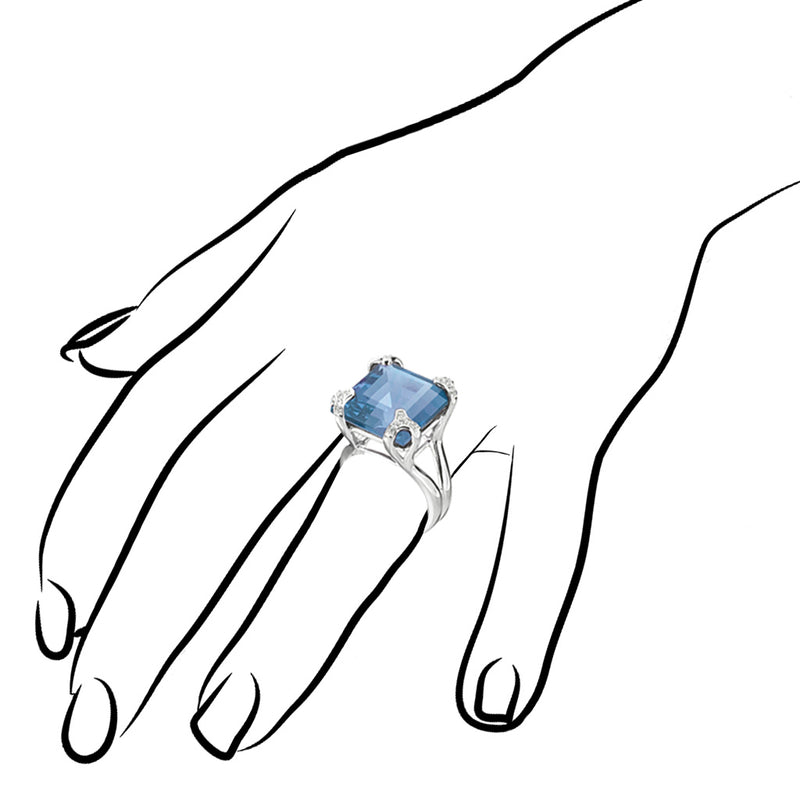 Soirée Blue Quartz & Diamond Ring in Sterling Silver