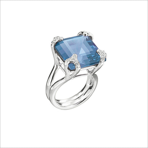 Soiree Silver & Blue Quartz Diamond Ring
