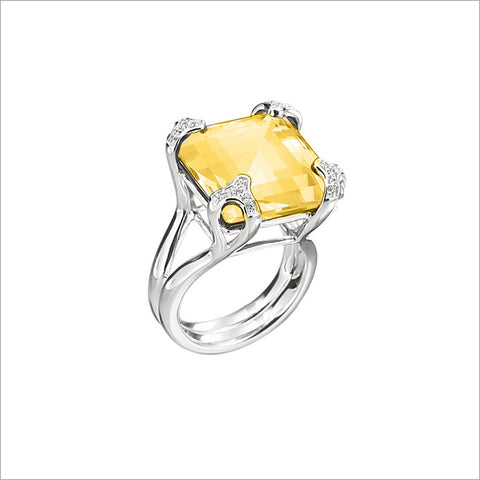 Soiree Silver & Golden Quartz Diamond Ring