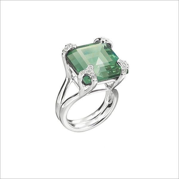 Soirée Green Quartz & Diamond Ring in Sterling Silver
