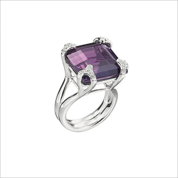 Soirée Purple Quartz & Diamond Ring in Sterling Silver