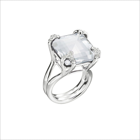 Soiree Silver & Rock Crystal Diamond Ring