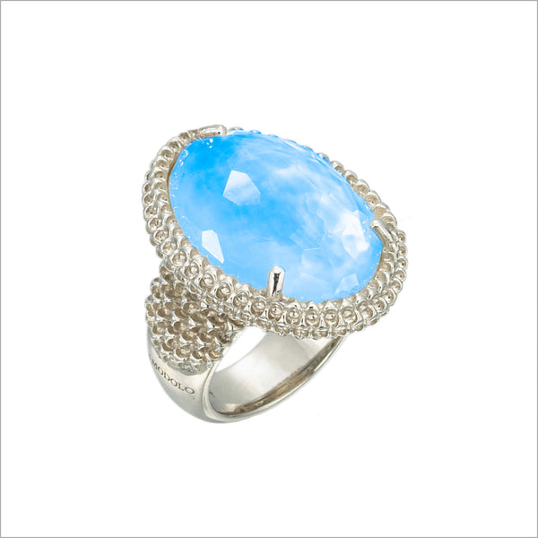 Motif Blue Quartz Mother of Pearl Doublet & Diamond Ring in Sterling Silver