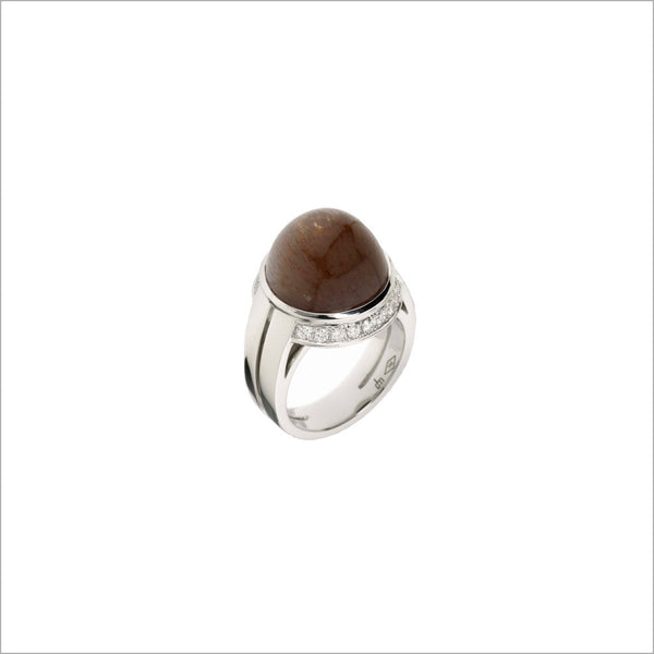 Tempia 18K White Gold & Sunstone Ring with Diamonds