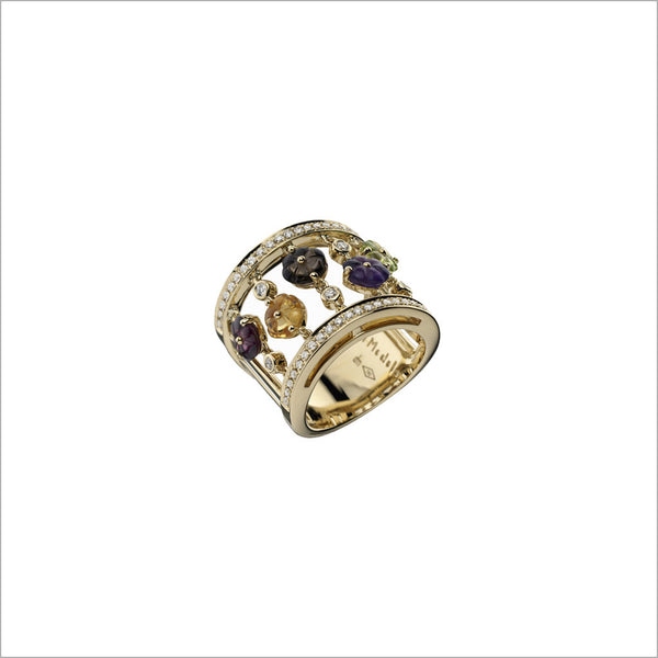 Tempia 18K Yellow Gold Ring with Amethyst, Citrine, Peridot & Diamonds