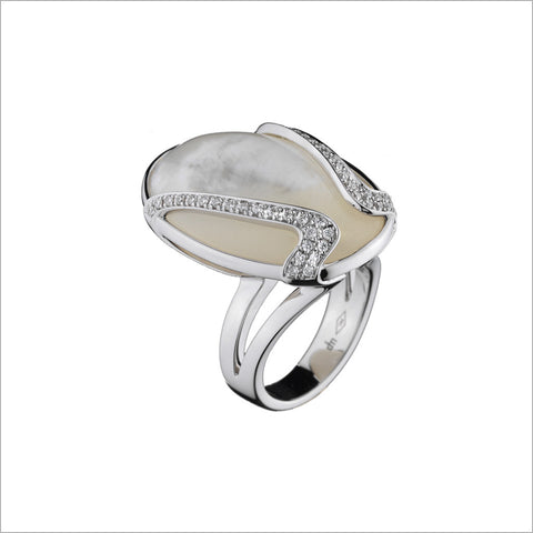 Favola 18K White Gold & Mother-of-Pearl Diamond Ring