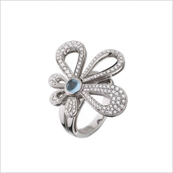 Fiamma 18K White Gold Ring with Blue Topaz and Diamonds