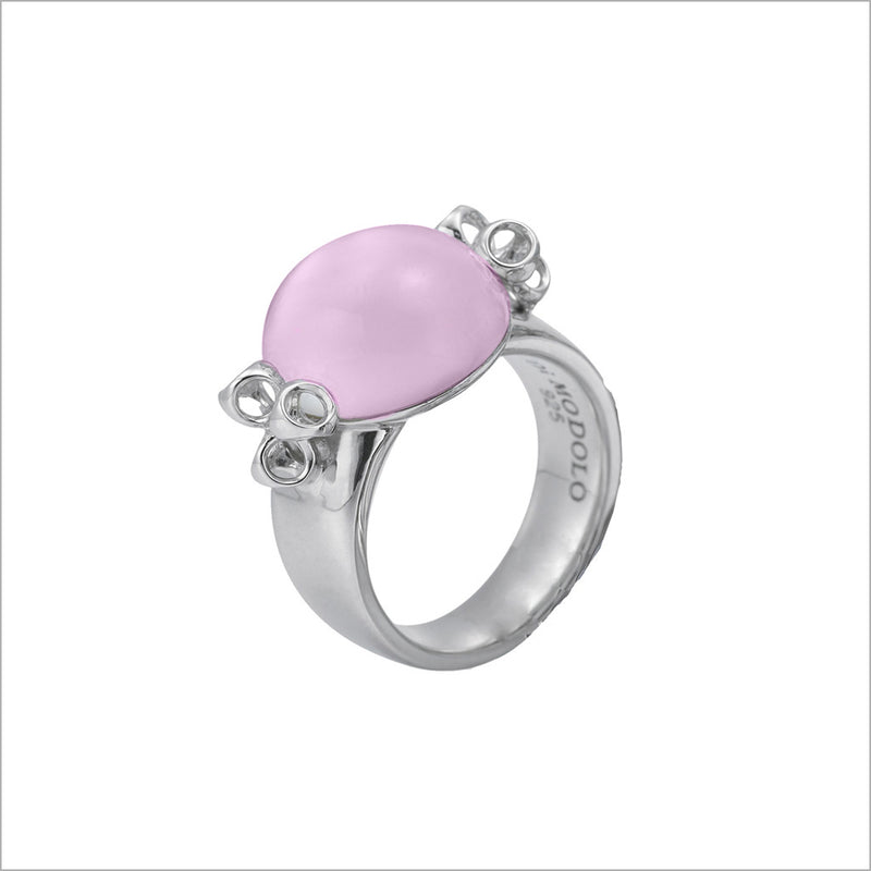 Icona Pink Quartz Bubble Ring in Sterling Silver