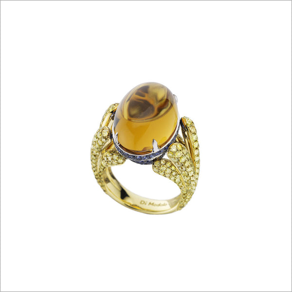 Triadra 18K Gold & Citrine Ring with Diamonds