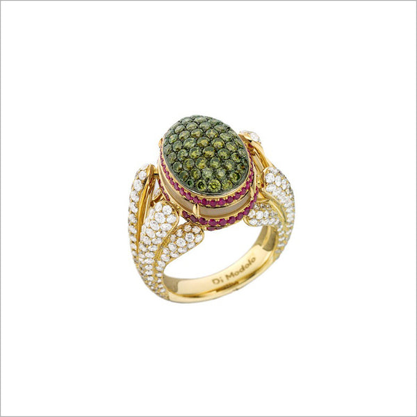 Triadra 18K Yellow Gold & Diamond Ring with Green Sapphire and Ruby