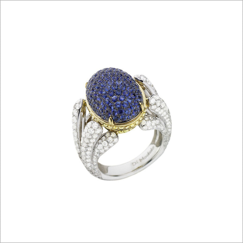 Triadra 18K Gold & Blue Sapphire Ring with Diamonds