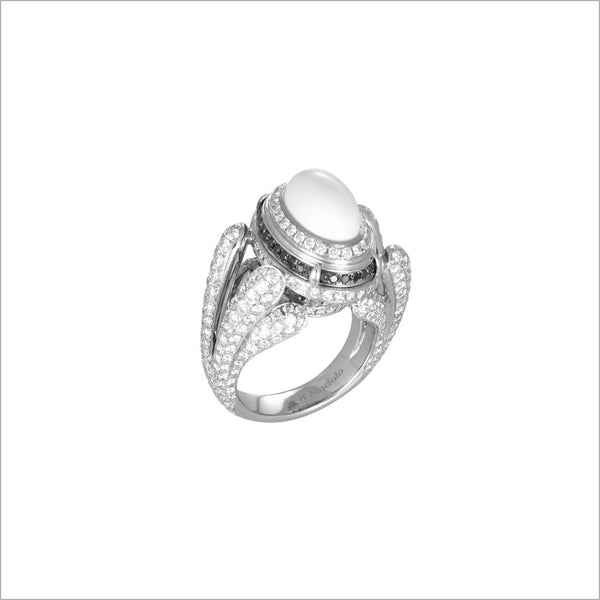 Triadra 18K White Gold & White Agate Ring with Diamonds