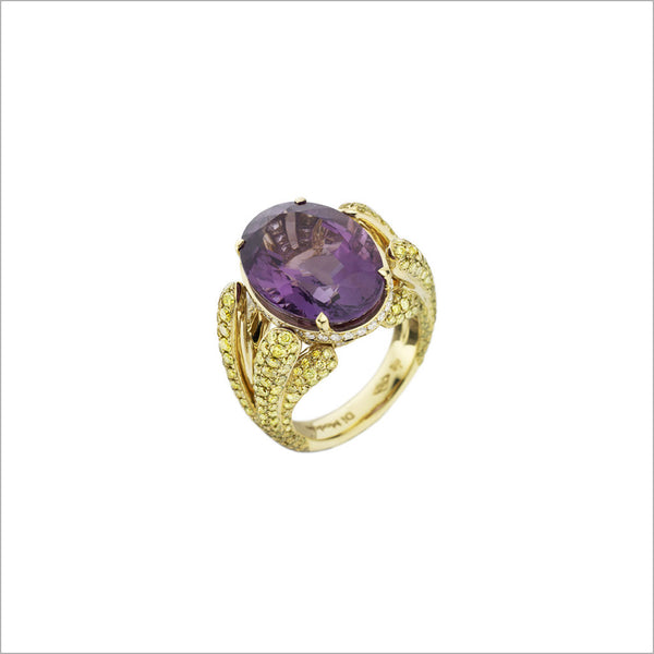 Triadra 18K Yellow Gold & Amethyst Ring with Diamonds