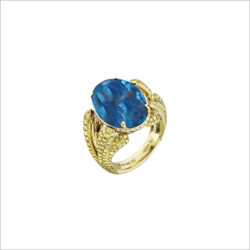 Triadra 18K Yellow Gold & Sky Blue Topaz Ring with Diamonds