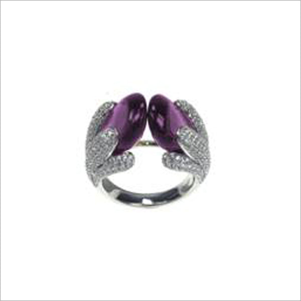 Triadra 18K White Gold & Amethyst Ring with Diamonds