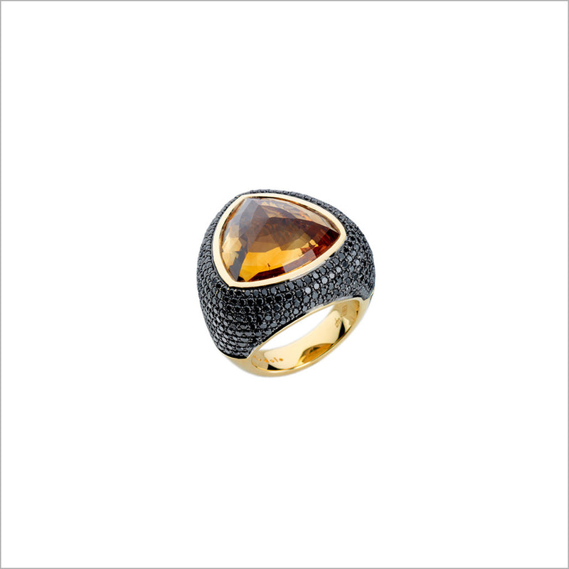 Triadra 18K Gold & Citrine Ring with Black Diamonds