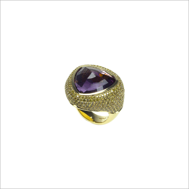 Triadra 18K Gold & Amethyst Ring with Diamonds