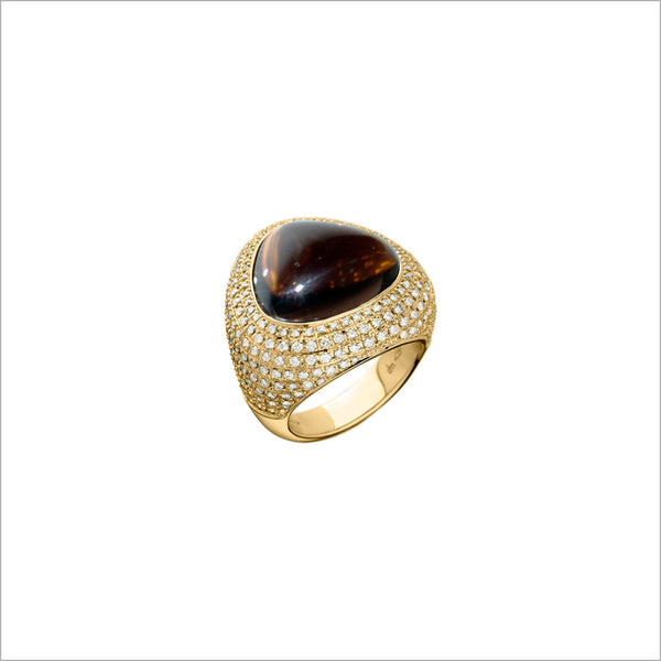 Triadra 18K Gold & Smoky Quartz Ring with Diamonds