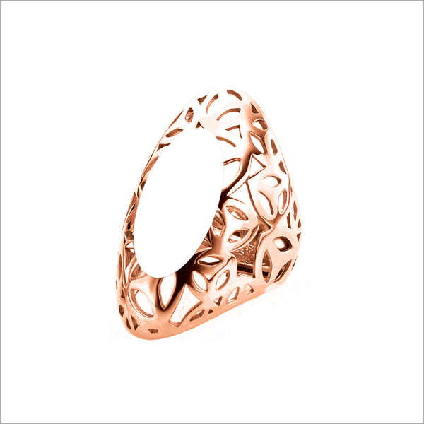 Sahara White Agate Ring in Sterling Silver plated with 18k Rose Gold