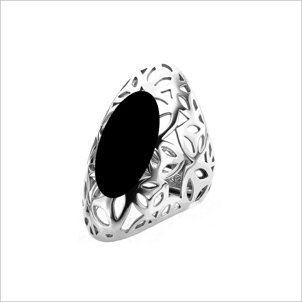 Sahara Large Ring in Sterling Silver with Black Agate