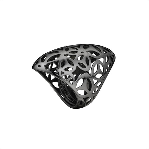 Sahara Ring in Sterling Silver plated with Black Rhodium