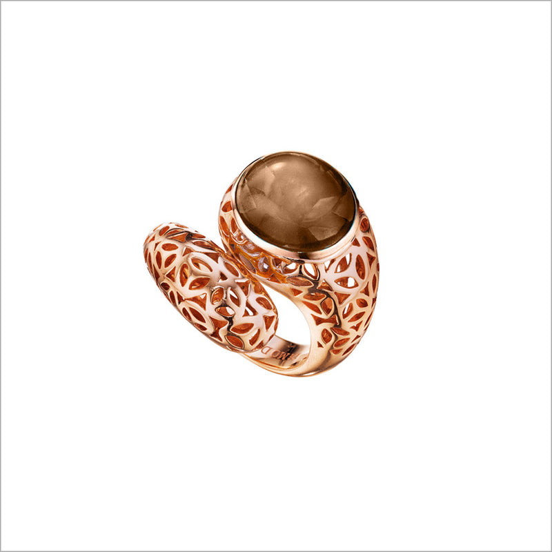 Sahara Smoky Quartz Snake Ring in Sterling Silver plated with 18k Rose Gold