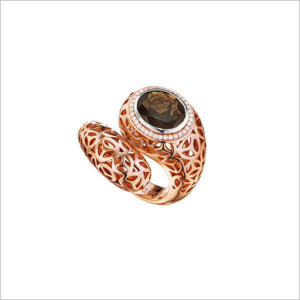 Sahara Smoky Quartz & Diamond Snake Ring in Sterling Silver plated in 18k Rose Gold