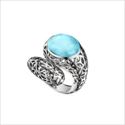 Sahara Blue Topaz Snake Ring in Sterling Silver