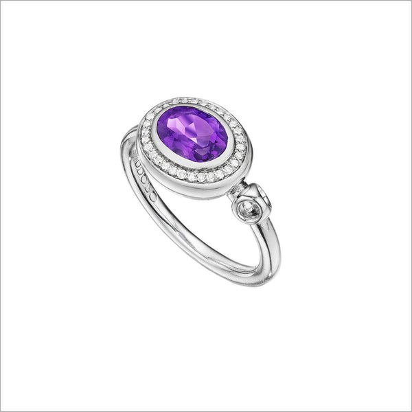 Lolita Amethyst & Diamond Ring in Sterling Silver