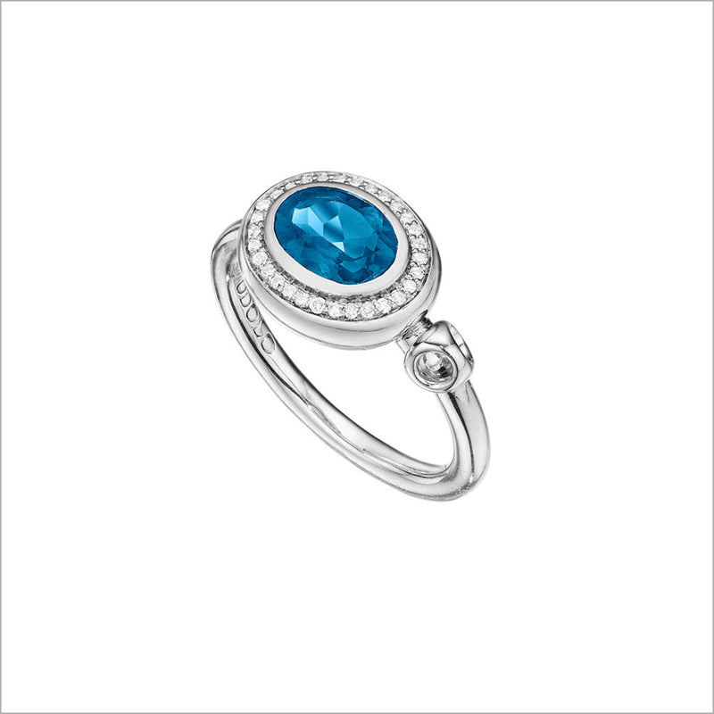Lolita Blue Topaz & Diamond Ring in Sterling Silver
