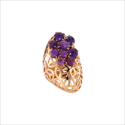 Fiore Del Deserto Amethyst Ring in Sterling Silver plated with 18K Rose Gold