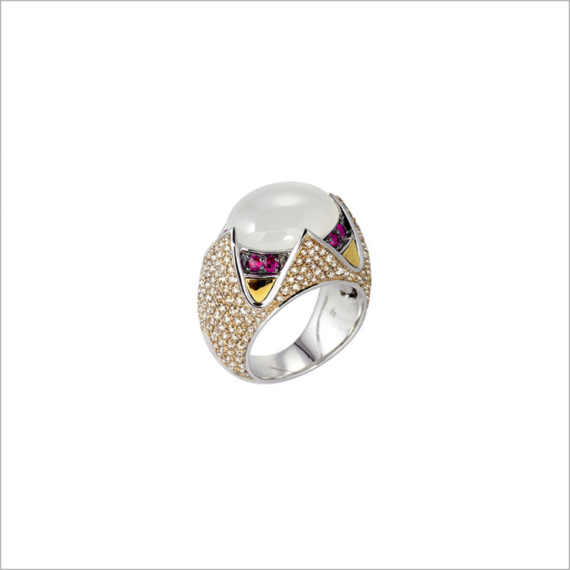 Tempia 18K Yellow and White Gold & Moonstone Ring with Diamonds