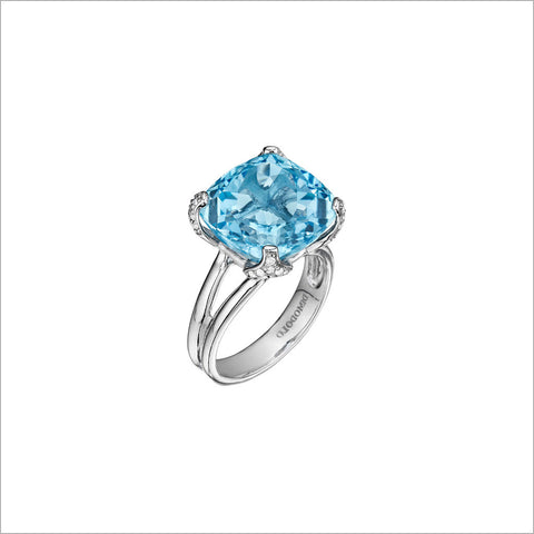 Soiree Silver & Blue Topaz Diamond Ring