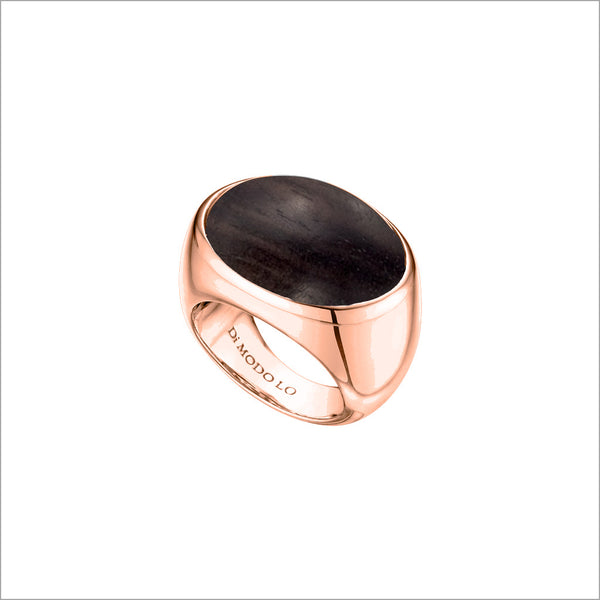 Sahara Wood Ring in Sterling Silver plated with 18k Rose Gold