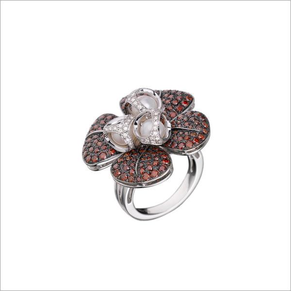 Triadra 18K White Gold & Red Sapphire Flower Ring with Diamonds