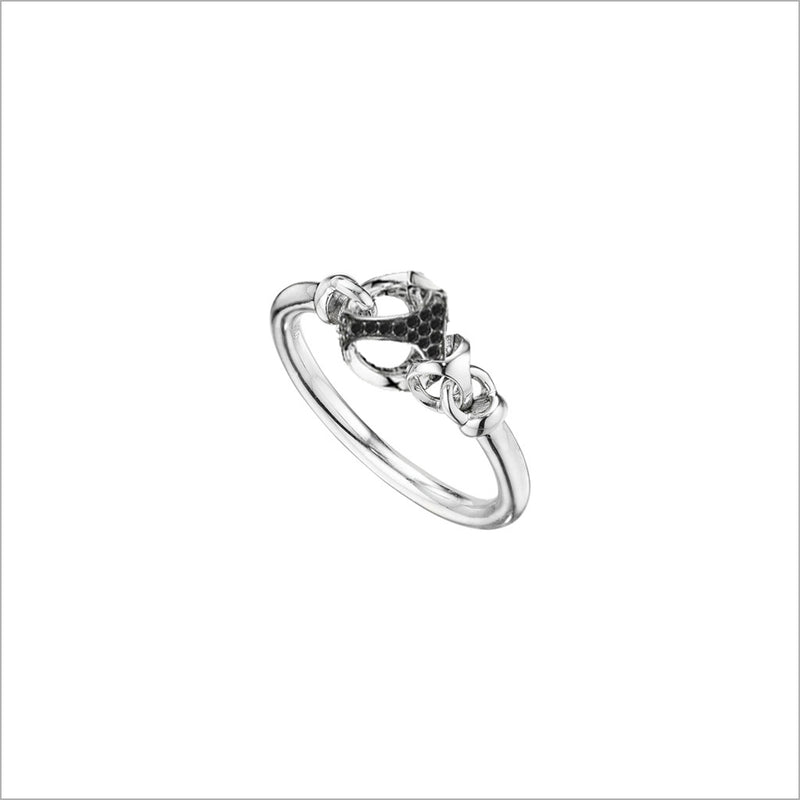 Linked By Love Sterling Silver & Black Diamond Ring