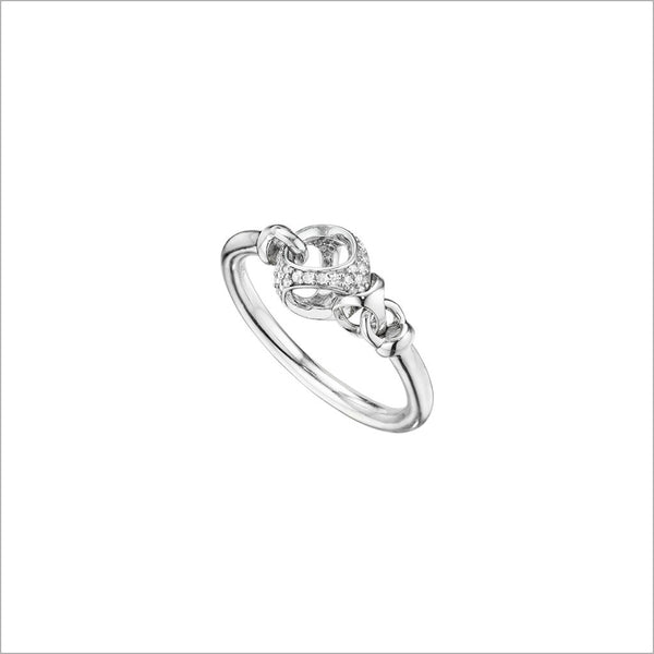 Linked By Love Sterling Silver Diamond Ring