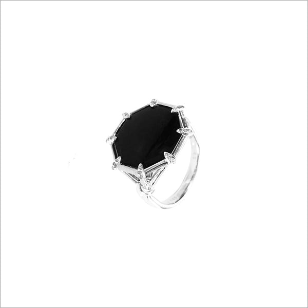 Icona Black Onyx & Sterling Silver Small Ring with Diamonds