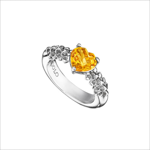 Icona Citrine Heart Ring in Sterling Silver
