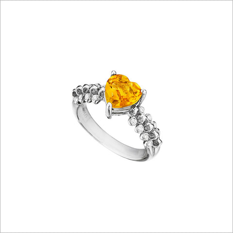 Icona Eternity Citrine & Diamond Heart Ring in sterling silver plated with rhodium