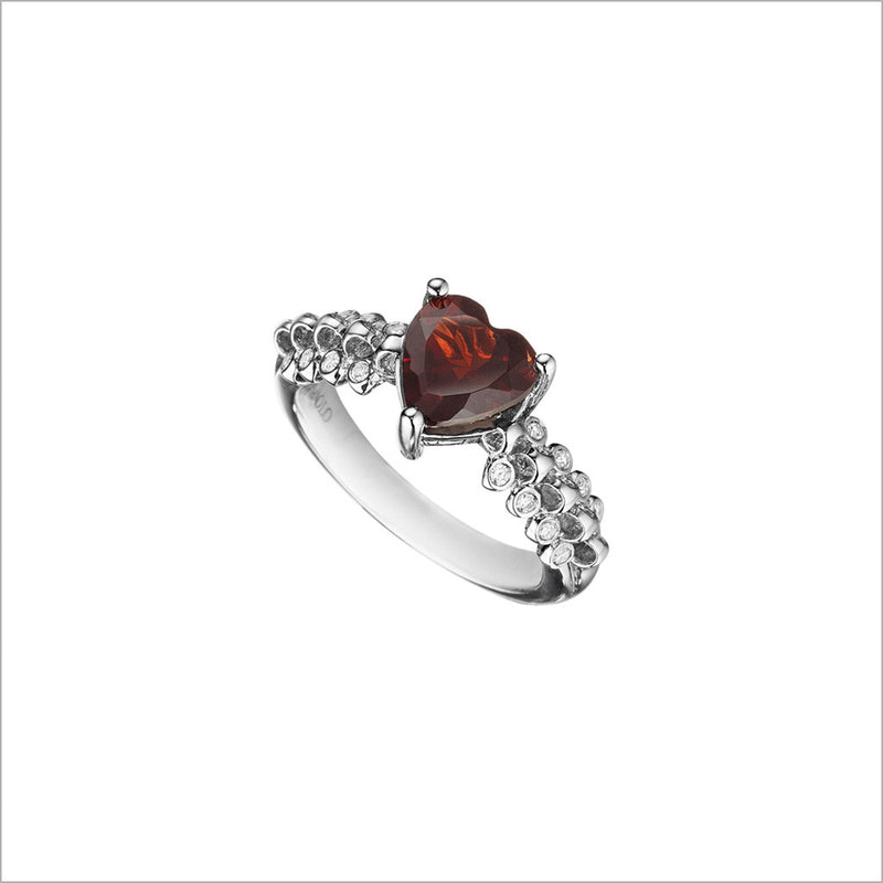 Icona Eternity Garnet & Diamond Heart Ring in sterling silver plated with rhodium
