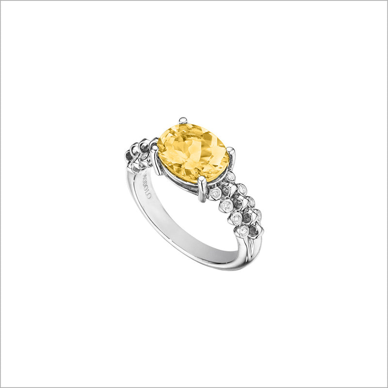 Icona Eternity Citrine & Diamond Ring in Sterling Silver
