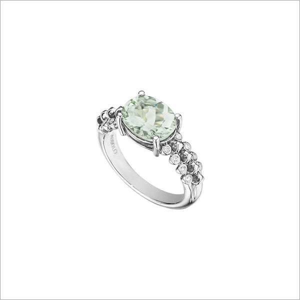 Icona Eternity Green Amethyst & Diamond Ring in sterling silver plated with rhodium