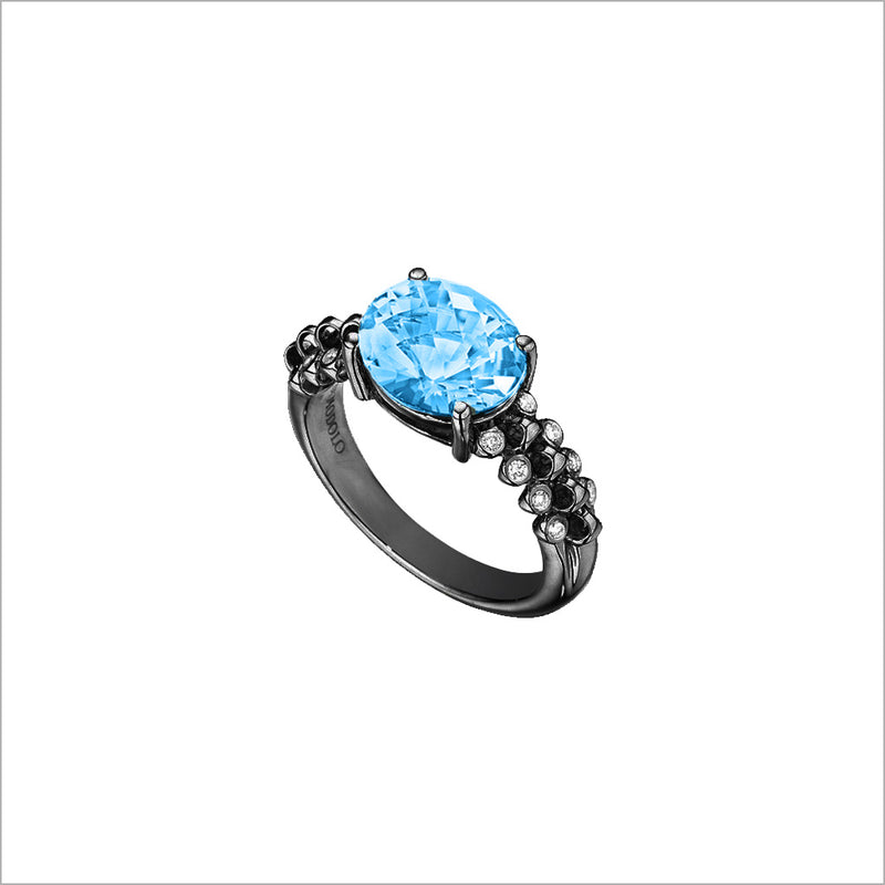 Icona Eternity Blue Topaz & Diamond Ring in Sterling Silver plated with Black Rhodium
