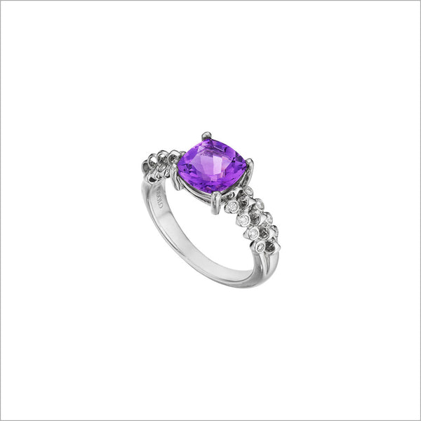 Icona Eternity Amethyst & Diamond Ring in sterling silver plated with rhodium