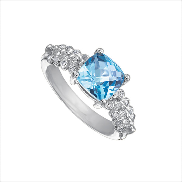 Icona Blue Topaz & Diamond Ring in Sterling Silver