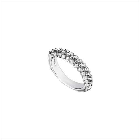 Icona Eternity Ring with Diamonds in sterling silver plated with rhodium