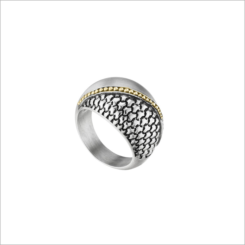 Ricamo Ring in Sterling Silver and 18k Yellow Gold Plated