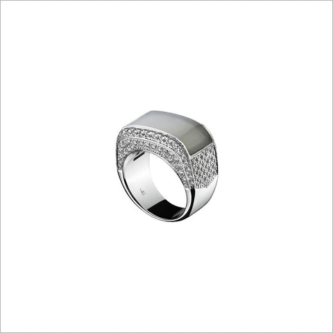 Quadria 18K White Gold Mother of Pearl Ring with Diamonds